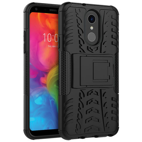Dual Layer Rugged Tough Shockproof Case for LG Q7 - Black